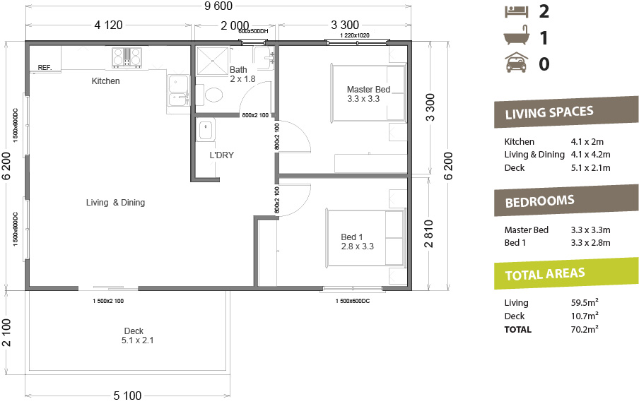 Granny flat 60 pacific building company for Granny flats floor plans