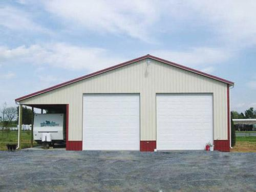Garage With Side Lean To Roof And Double Door Pacific