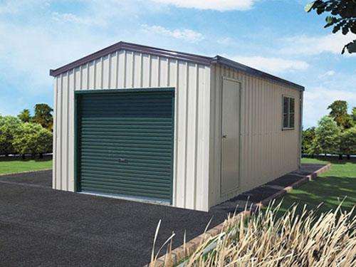Garage with side lean to roof and double door pacific for Single garage