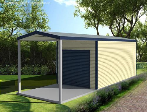 1 Car Garage With Lean To Carport : Garage with side lean to roof and double door pacific